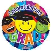 """Round 18"""" Graduation Foil Helium Balloon (Not Inflated) - Smiley Face & Balloons"""
