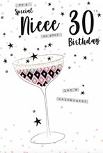 "ICG Niece 30th Birthday Card - Cocktail Glass, Grey Spots & Bronze Stars 9"" x 6"""