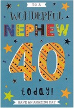 "ICG Nephew 40th Birthday Card - Balloons, Silver Stars & Silver Text 9"" x 6"""