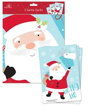 "Pack Of 3 Giant PVC Plastic Christmas Santa Sacks - Santa Claus & Gift 30"" x 20"""