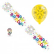 Age 9 Unisex Birthday Party Pack - 9th Banner, Balloons, Number Candle