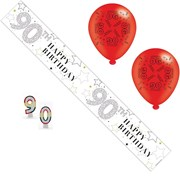 Age 90 Unisex Birthday Party Pack - 90th Banner, Balloons, Number Candles