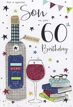 """Son 60th Birthday Card - Red Wine Bottle and Glass, Books and Silver Foil 9""""x6"""""""