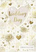 """Wedding Day Greetings Card - Gold Metallic Text, Flowers & Hearts 9.75"""" x 6.75"""""""
