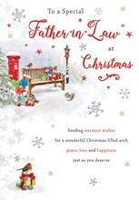 """Father-in-law Christmas Card - A Bench & Postbox In The Snow With Foil  9x6.25"""""""