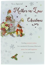 """Mother-in-law Christmas Card - Robins Watering Can & Xmas Flowers  9"""" x 6"""""""