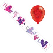 Age 13 Girl Birthday Foil Party Banner & Balloons - Happy 13th Birthday