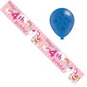 Age 4 Girl Birthday Foil Party Banner & Balloons -  Happy 4th Birthday Unicorn