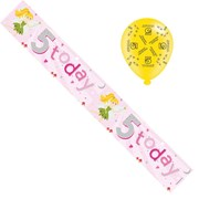 Age 5 Girl Foil Party Banner & Balloons -  5 Today - Pink Fairies & Silver Stars