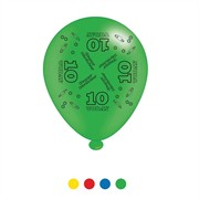 Pack Of 8 Multicoloured 10th Birthday Air Fill/Helium Party Balloons - 10 Today