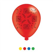 Pack Of 8 Multicoloured 13th Birthday Air Fill/Helium Party Balloons - 13 Today