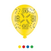 Pack Of 8 Multicoloured 40th Birthday Air Fill/Helium Party Balloons - 40 Today