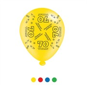 Pack Of 8 Multicoloured 70th Birthday Air Fill/Helium Party Balloons - 70 Today