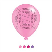 Pack Of 8 Pink It's A Girl New Baby Latex Party Balloons - Air Fill or Helium
