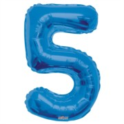 """Large Jumbo Blue Metallic Number 5 Foil Helium Balloon 34""""/87cm (Not Inflated)"""