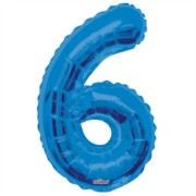 """Large Jumbo Blue Metallic Number 6 Foil Helium Balloon 34""""/87cm (Not Inflated)"""