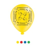 Pack Of 8 Multicoloured Happy Anniversary Latex Party Balloons - Air Fill/Helium