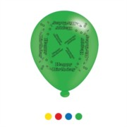 Pack Of 8 Multicoloured Happy Birthday Latex Party Balloons - Air Fill or Helium