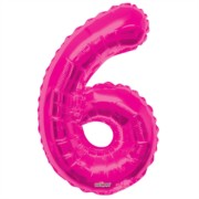 """Large Jumbo Pink Metallic Number 6 Foil Helium Balloon 34""""/87cm (Not Inflated)"""