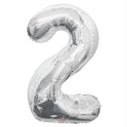 """Large Jumbo Silver Metallic Number 2 Foil Helium Balloon 34""""/87cm (Not Inflated)"""