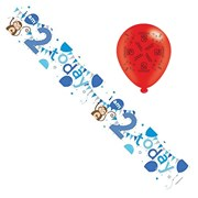 Age 2 Boy Foil Party Banner & Balloons -  I Am 2 Today - Monkeys & Blue Balloons
