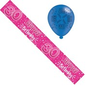 Age 30 Female Foil Party Banner & Balloons - 30 Happy Birthday - Hot Pink Stars