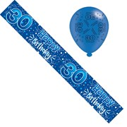 Age 30 Male Foil Party Banner & Balloons - 30 Happy Birthday - Dark Blue Stars