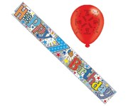 Age 7 Unisex Multicoloured Foil Party Banner & Balloons - Happy 7th Birthday