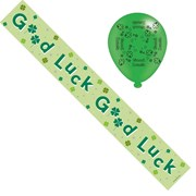 Good Luck Foil Party Banner & Balloons - Good Luck - Green Text, Clovers & Stars