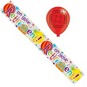 Retirement Foil Party Banner & Balloons - On Your Retirement - Bold Text & Stars