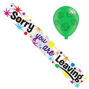 Sorry You're Leaving Foil Party Banner & Balloons - Multicoloured Text & Spots