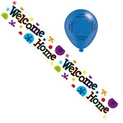 Welcome Home Foil Party Banner & Balloons - Welcome Home - Bright Spots & Stars