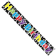 Happy Birthday Foil Party Banner - Happy Birthday - Black with Bright Writing