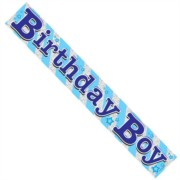 Blue and Silver Foil Birthday Boy Party Banner with Stars