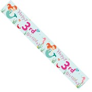 Age 3 Girl Green Foil Party Banner - Happy 3rd Birthday - Mermaids, Fish & Stars