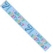 Age 7  Blue Foil Party Banner - Happy 7th Birthday - Boy
