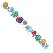 Age 8 Unisex White Foil Party Banner - Happy 8th Birthday - Big Balloons & Stars