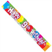 Age 9 Unisex Muticoloured Foil Party Banner - Happy 9th Birthday - Boy or Girl