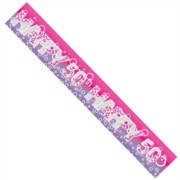 Age 50 Female Pink Foil Party Banner - Happy 50th - Silver Text & Purple Bubbles