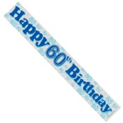 Age 60 Male Silver Foil Party Banner - Happy 60th Birthday - Blue Text & Numbers