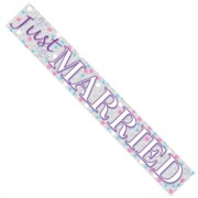 Just Married  Silver Foil Party Banner - White Just Married