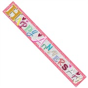 Open Anniversary Silver Foil Party Banner - Happy Anniversary