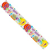 Retirement Foil Party Banner - On Your Retirement - Multicoloured Spots & Stars