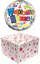 """Round 18"""" Welcome Home Foil Helium Balloon In Box - Multicoloured Text & Stars"""