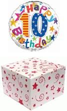 "Round 18"" 10th Birthday Foil Helium Balloon In Box - Age 10 Unisex Bright Stars"