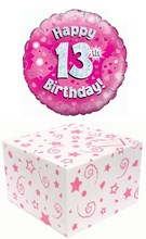"""Round 18"""" 13th Birthday Foil Helium Balloon In Box -Happy 13 Pink Silver Hearts"""