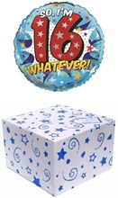 "Round 18"" 16th Birthday Foil Helium Balloon In Box - Age 16 Boy Text & Stars"