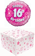 """Round 18"""" 16th Birthday Foil Helium Balloon In Box - Pink Silver Happy 16th"""
