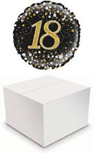 "Round 18"" 18th Birthday Foil Helium Balloon In Box - Age 18 Unisex Black & Gold"
