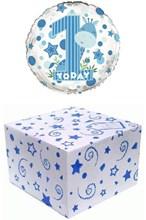 """Round 18"""" 1st Birthday Foil Helium Balloon In Box - Age 1 Boy Giraffe"""